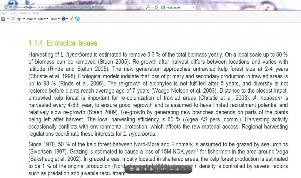 reduction in epiphytes and marine life